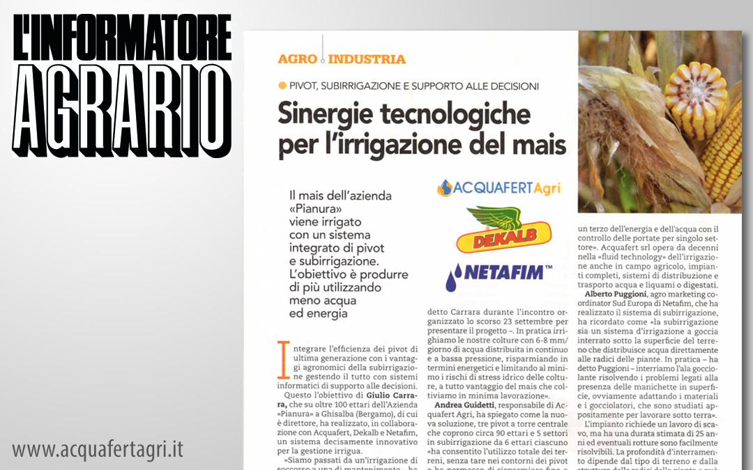 Agri Sinergie tecnologiche per l irrigazione del mais