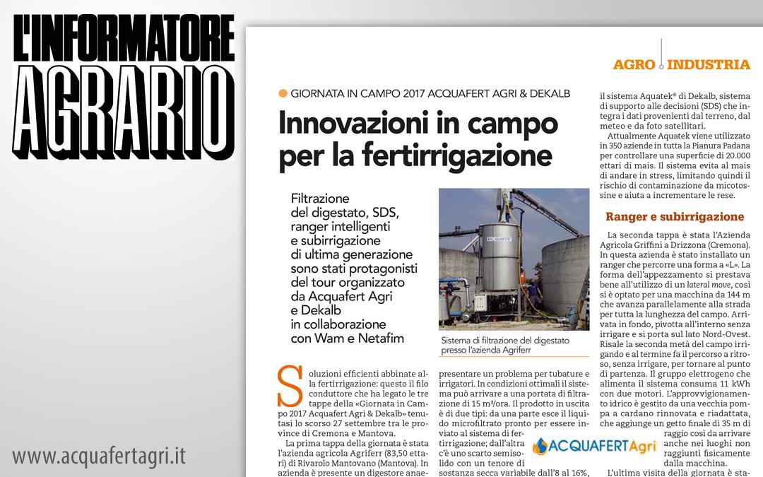 Innovazioni in campo per la fertirrigazione